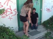 sadistic girls have slap fun with their slave public
