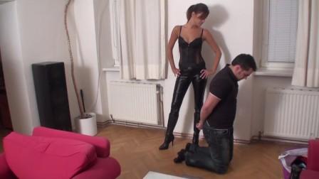 strict cruel mistress face slapping handcuffed slave