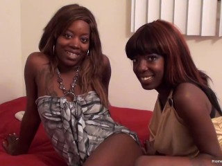 Petite black lesbians licking and fucking each other with toys