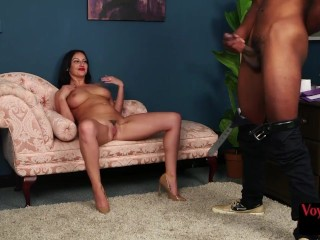 Busty euro voyeur teasing her wanking ebony sub