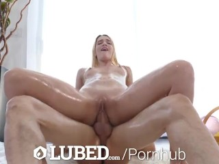 LUBED Blonde Gets Oiled Up For Easter Sex
