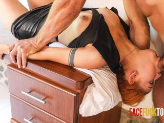 Horny Redhead Submissively Throated By Dads Big Dick