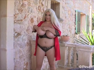 Kitty Cute in red nightgown shaking her huge boobs