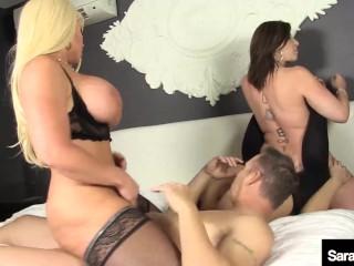 Dick Sucking MILF Sara Jay, Alura Jenson And Kimmie Lee Please 1 Lucky Man!