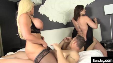 Dick Sucking MILF Sara Jay  Alura Jenson And Kimmie Lee Please 1 Lucky Man!