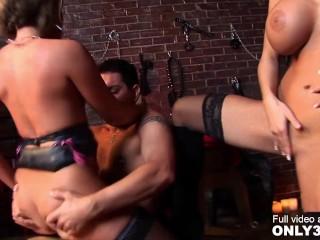 Stacey Saran and Farrah Fox by Only3x featuring Group Sex, Blonde, Facial Cumshot, Big Boobs, Natural Boobs