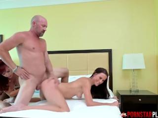 Busty Mature Sharing Bald Dudes Dick