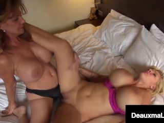 Strap On Pussy Licking Cougar Deauxma Fucks Blonde Busty Babe Dolly Fox!