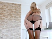 Perfect tits blonde teases you at her desk, then starts jilling off!!