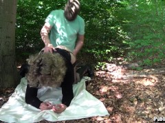 Naughty cum dump Jessica dogging in the woods and getting used by some strangers