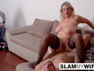 Sexy slut fucks in front of her man