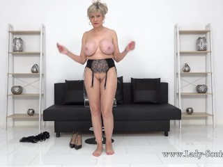 Lady Sonia strips nude during this naughty jerk off instruction video