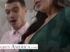 Naughty America - The tutor rides the student with her big tits on his face