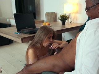 Old black man has sex with young babe and fucks her pussy hardcore