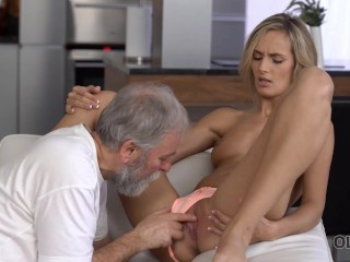 OLD4K Blonde wakes up in the right mood for sex with her old husband