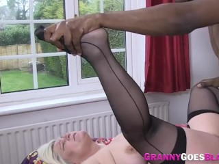 Busty grandma sucking big black cock gets fucked and masturbates
