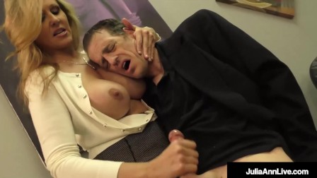 Horny Mommy Julia Ann Masturbates Her Stepson While He Lays On Her Big Tits