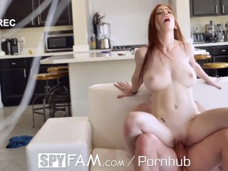 SPYFAM Redhead Step Sis Massaged And Drains Big Balls