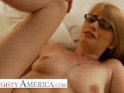 Naughty America - Allie james takes care of her sugar daddy the way she knows best