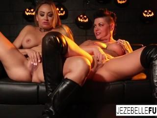 Halloween fun between two hot Milfs