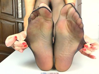 DAILY DOSE NYLON SOLES, FEET, LICKING TOES MY WIFE IN 8 DEN BLACK STOCKINGS FOR YOUR JERKING AND CUM