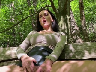 naughty girl masturbates in a public park