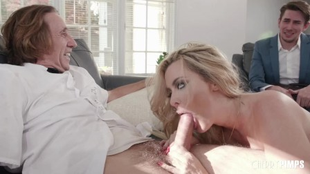 Blonde Busty Milf Sucks Her Milkman s Cock And Cucks Her Wimpy Husband By Fucking In Front Of Him