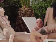 ULTRAFILMS Timea Bella and Daniella Rose having a great group sex action outside while weather is good