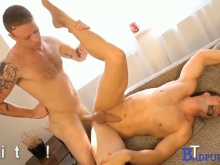 Jamie climbs on top of Roman and begins working his ass up and down on Roman's fat cock