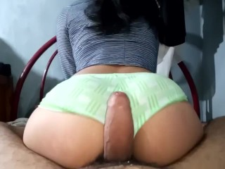 Spanks me, makes me horny and I end riding his hot cock furiously. Watch my big ass bounce