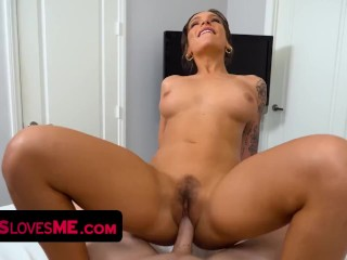 Gorgeous Step Sister April Olsen Seduces Stepbrother And Jumps On His Hard Cock