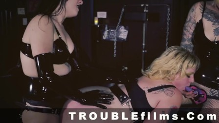 Curvy Babe Bound IN Dungeon and Fucked by Two Femdoms
