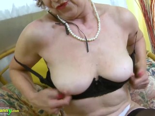 OLDNANNY Mature lady is playing with her body slowly strip