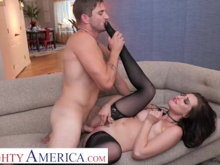 Naughty America – Brunette babe Aubree Valentine finally gets her hands on Nathan's cock!