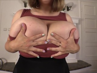 Samanta Lily shows on cam how she loves to touch her huge boobs