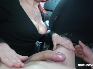 Fucking an old lady in a van