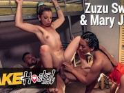 Fake Hostel Nerdy French Girl in love with geeky coder ends up in hot threesome with her friend and his big cock