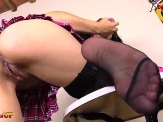 Liz Rainbow masturbates as a schoolgirl