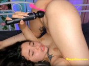 BongaCams girl lays on her back and enjoys pussyfuck with vibratoys