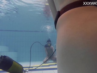 Nude swimming pool casting of Adeline Gauthier with a lesbian