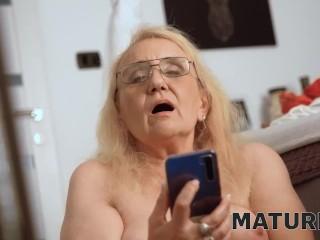 MATURE4K. Blonde granny masturbation big dildo