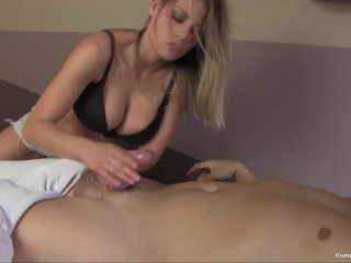 Lucky guy gets a happy ending from a gorgeous blonde after his massage